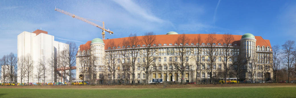 Panoramic view of the German national Library, source: Wikimedia Commons.
