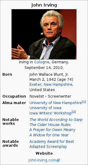 The infobox on the Wikipedia page of John Irving