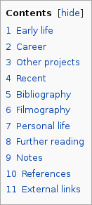 The table of contents on the Wikipedia page of John Irving